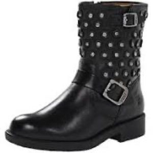 Girls Frye Jenna Disc Black short leather boots
